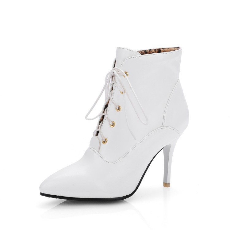 Casual Womens Shoes Autumn And Winter Black High Heeled Boots Cheap Comfortable White Pointed Toe Pump<br><br>Aliexpress
