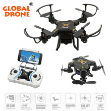 Global Drone Mini Foldable Drone 2.4G 4CH 6-Axis Gyro Portable RC Helicopter Wifi FPV Micro Quadcopter RTF with HD Camera