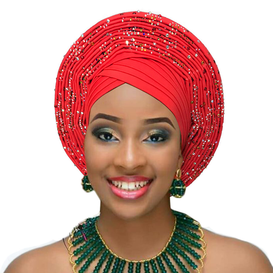 2018 Nigerian gele headtie already made auto hele turban cap african aso ebi gele aso oke headtie big brim (8)