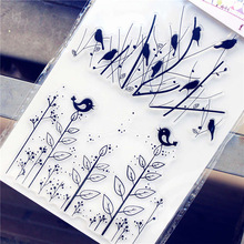 PANFELOU 11.3*15.56cm The bird grass Transparent Silicone Rubber Clear Stamps cartoon for Scrapbooking/DIY  wedding album