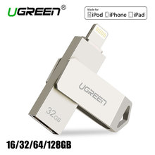 Ugreen USB Flash Drive 32GB 64GB For iPhone 8 7 Plus Lightning to Metal Pen Drive U Disk for MFi iOS10 memory stick 128GB(China)