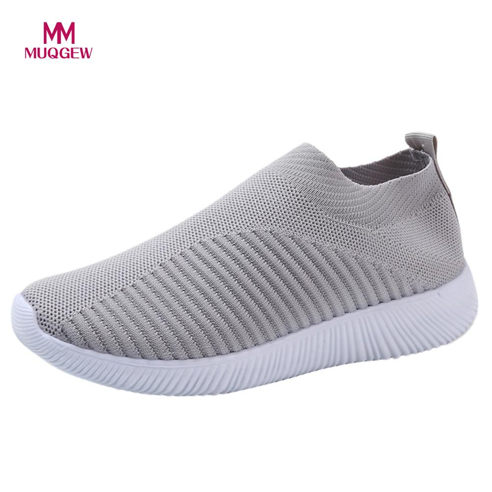 Women Mesh Flat Shoes Fashion Sneakers Casual Slip On Comfortable Soles Outdoor Running Sports Shoes Female Soft Mesh Flats(China)