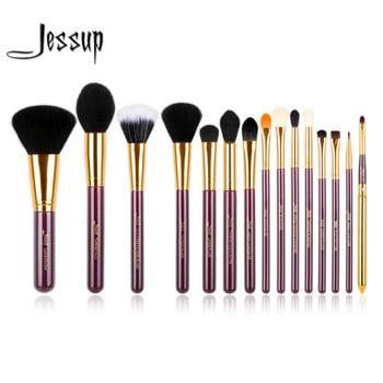 Jessup Pro 15 pcs Maquillage Pinceaux Poudre Fondation Fard À Paupières Eyeliner Pinceau À Lèvres Outil Pourpre et Or