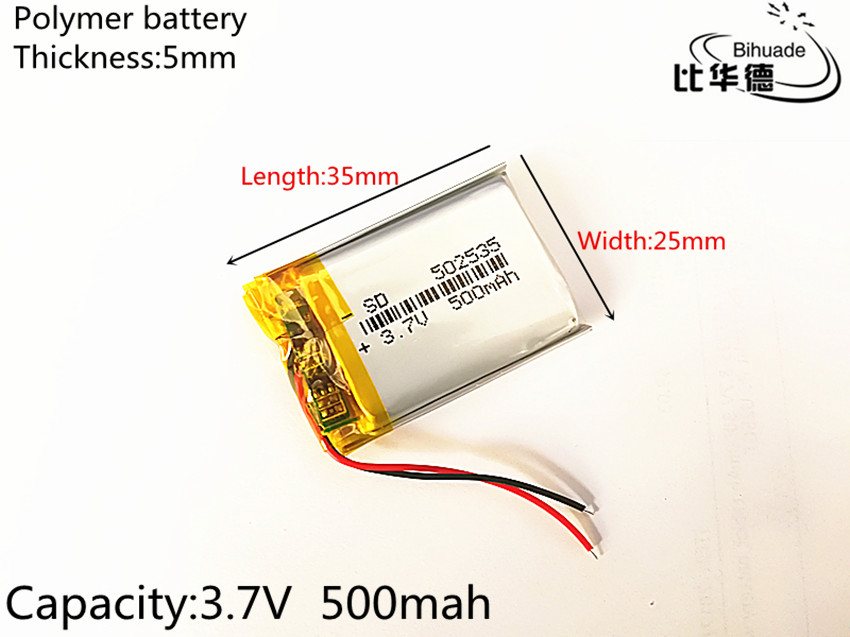 100pcs Free shipping 3.7V lithium polymer battery 052535 502535 MP4 MP5 DIY gifts / toys 500MAH For GPS PSP 4