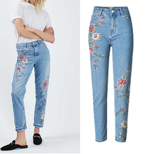 2017 Fashion Women Embroidered Jeans Pencil Pants Flower Casual High Waist Denim Trousers  JL