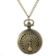Cindiry Retro Bronze Peacock Pocket Watch Alloy Peacock Pattern Necklace Pendant Chain reloj enfermera Gift Quartz Watches P10