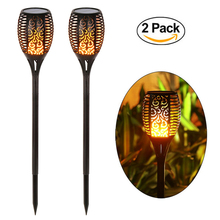 Solar Light Garden Lamp Path Tiki Torches Lights Dancing Flame Lighting 96 LED Flickering Tiki Torches Outdoor Waterproof Lamps(China)