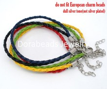 DoreenBeads 20 PCs Mixed Plaited Braiding Bracelets Cords 20cm