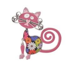 Rose Pink Enamel Lovely Cat Women Brooch Pins Black,Red,Blue, Animal Brooches Bags Accessory Costume Jewelry