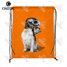 Orange Cute french Bulldog with Hat Pattern Print Custom individual Nylon Fabric Drawstring Shoes Storage Dust Bag Pack of 4