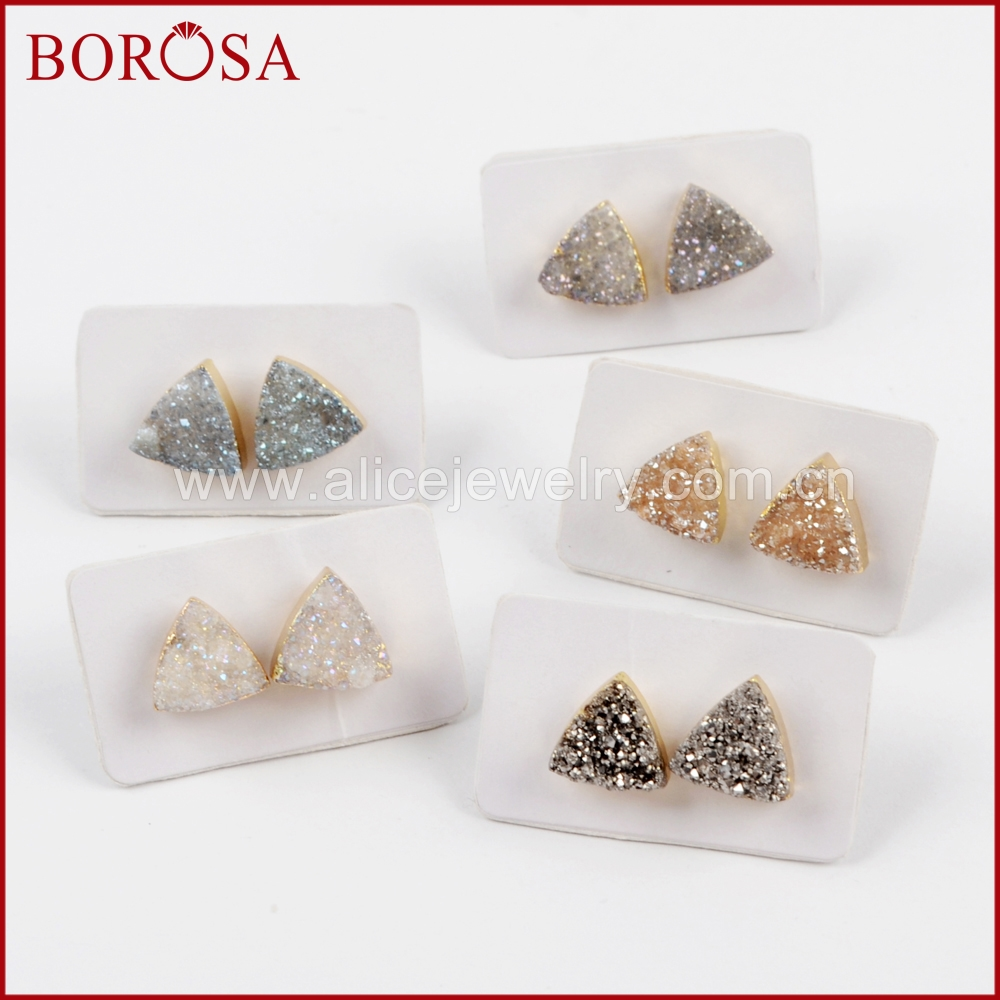 BOROSA 5Pairs New Arrival Gold Color 10mm Triangle Shape Rainbow Druzy Stud Earrings Gems Drusy Earring Jewelry for Women G1530