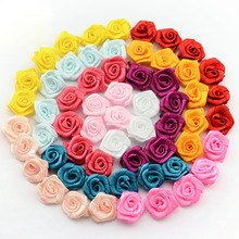 15mm 100pcs/lot Handmade Satin Rose Ribbon Rosettes Fabric Flower Bow Appliques Wedding Decor Craft Sewing Accessories DIY 1-35