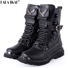Retro Combat Boots Winter Plush British Style Leather Military Boots Belt Buckle Charm Low Heels Lace Up Men Boots XMG0051-5