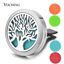 Car Aromatherapy Locket Vent Clip 316L Stainless Steel Pendant Family Tree Magnetic Randomly Send 5pcs Felt Pads as Gift VA-305(China)