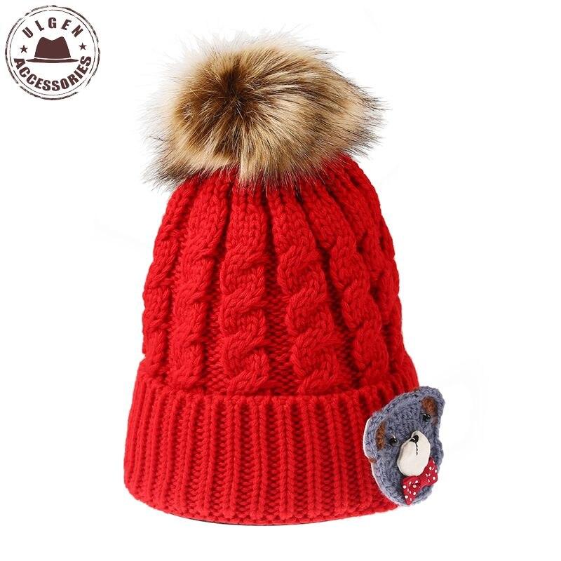 Ulgen Handmade Cute Bear Fur pompom beanies Winter Crochet Knitting beanie hat Women HatÎäåæäà è àêñåññóàðû<br><br><br>Aliexpress