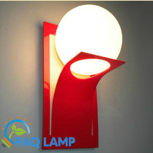 Modern lamp wall lamp metal frame glass ball paint red and black lighting led light fixture