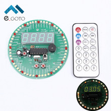 4 Digital LED Tube Display Display DS18B20 Rotating Time Clock Alarm Temperature Module Kit DIY Kits w/IR Remote Controller