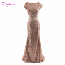 Linyixun Real Photo Champagne gold Long Bridesmaid Dresses Sequined Short Sleeve Floor Length 2017 Prom Gown Wedding Party Dress