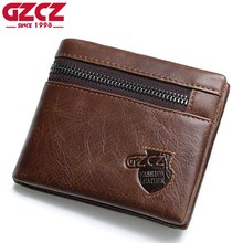 GZCZ Genuine Leather Wallet Men Zipper Design Bifold Short Male Clutch With Card Holder Mini Coin Purse Crazy Horse PORTFOLIO(China)