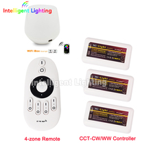 RF remote + led wifi controller + 3x wireless control ww cw controller(China)