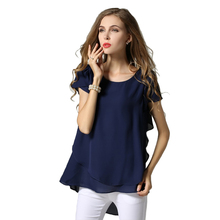 M L XL XXL 3XL 4XL 5XL Plus Size chiffon blouse 2017 Summer O Neck short sleeve casual shirts Yellow Navy White Black women tops(China)