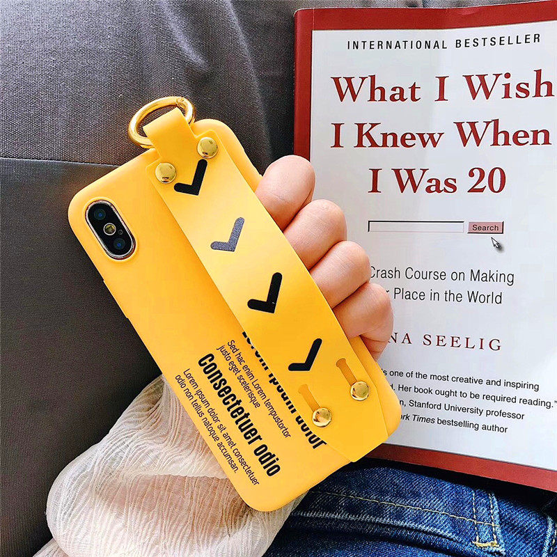 LUDI Hipster Simple letter Yellow Phone Case for iPhone 7 7Plus Soft TPU Fashion Wrist Strap Phone Bag for iPhone X 6 6s 8 Plus 3