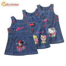 New Fashion 2017 Summer Girls Dress Cute Cartoon Printed Children Clothes High Quality Jeans Kids Party Dresses