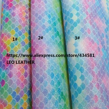 3PCS 21X29CM Printed Mermaid Rainbow Glitter Leather Fabric, PU Glitter Leather for DIY accessories 3S20(China)