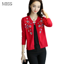 MISSFEBPLUM Women Cardigan 2017 Autumn & Winter Knitting Sweater Cardigan Thin Loose Short Floral Embroidered Small Jacket Coat