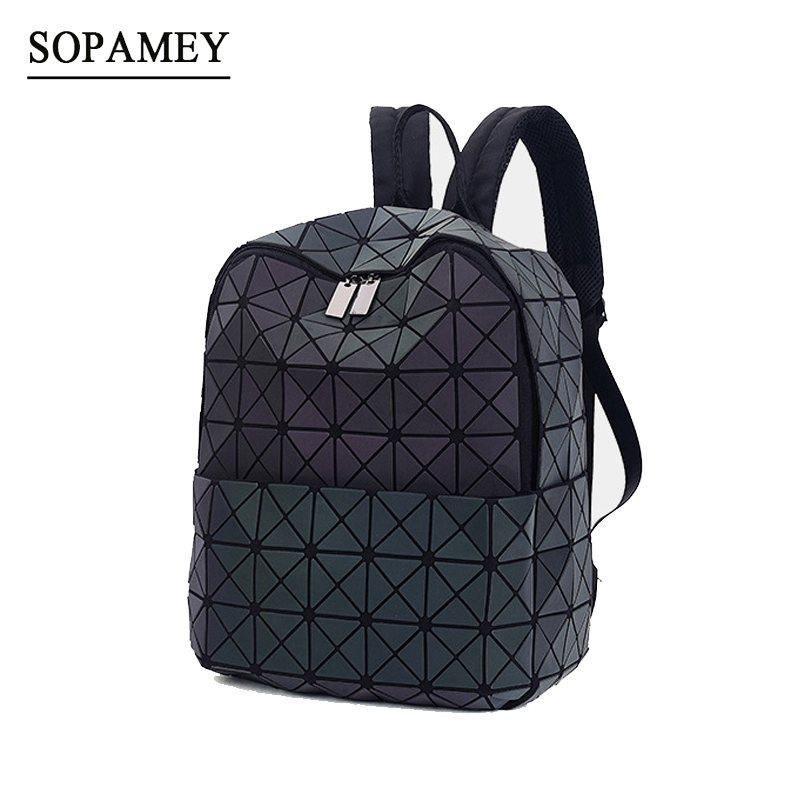 SOPAMEY Women Luminous Backpack Female BaoBao Back pack Mochila Feminina Geometry Sequins Folding Bags School Bags For Teenage<br>