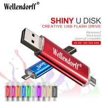 Wellendorff High Quality OTG USB Flash Drive Colorful Pen Drive 4GB 8GB 16GB 32GB 64GB Memory Stick For Mobile Phone/PC(China)