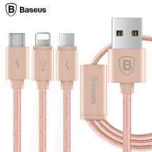 Baseus Portman Series 1.2M USB Sync Data Charging Cable 3 in 1 Micro + 8 pin + Type-C For iphone5 6s 7plus Samsung Sony