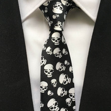 New Arrival 5cm Fashion Narrow Ties HOT Men Casual Party Necktie Black with Scary Skulls Gravata for Halloween(China)