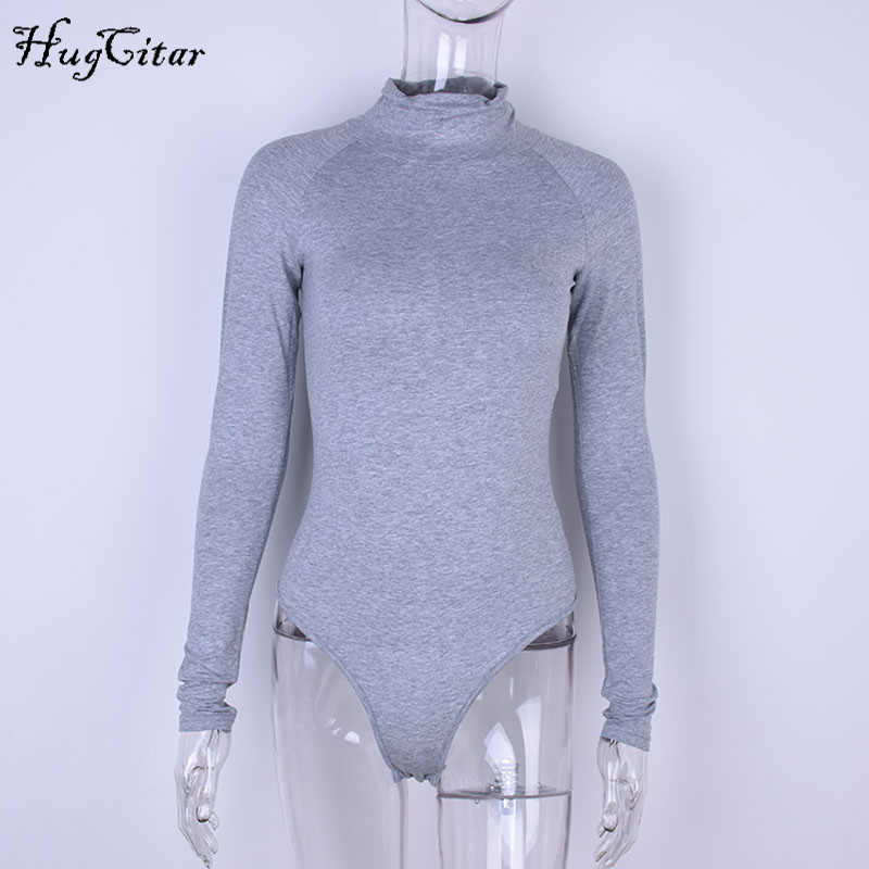 Cotton Long Sleeve, High Neck Bodysuit, Women's Solid Sexy Bodysuit 24