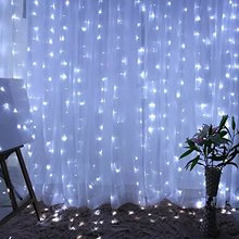 Kmashi 9.8ft x 9.8ft 300LED Outdoor Christmas LED Curtain icicle Lighting with 8 Modes Memory Controller String Fairy lights