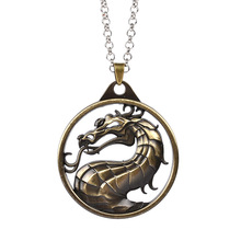 New Retro Mortal Kombat Necklace Vintage Dragon Pendant Movie Video Game Jewelry Men Women(China)