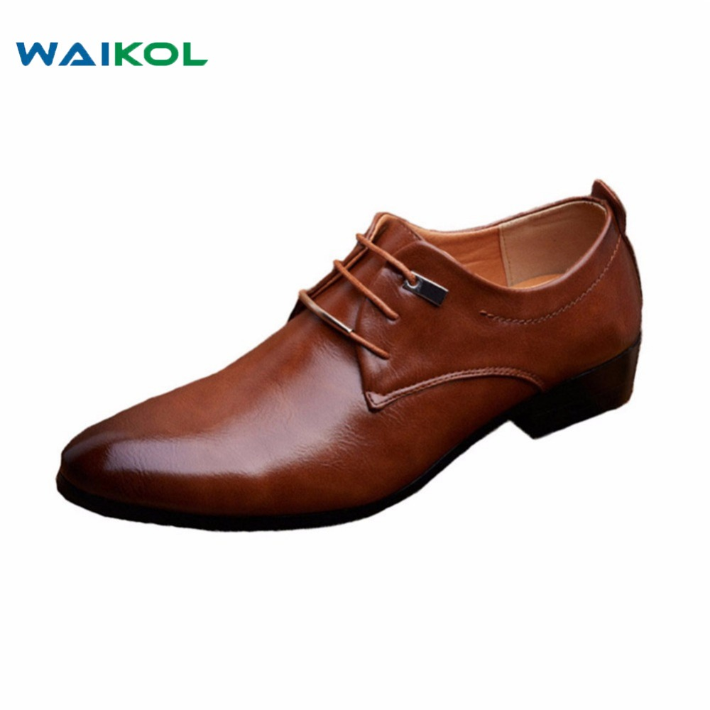 Waikol 2017 Designer Classic Men Dress Shoes PU Black Brown  Wingtip Italian Formal Oxfords Shoes Size 38-46<br>