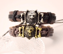 new product wolf head jewelry ornament genuine leather bracelets cuff bangle wristband drop shipping(China)