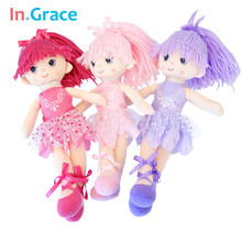 In.Grace Ballerina girl dolls beautiful handmade princess dancing girls wedding dolls unique gifts for kids girl 12inch 3 colors(China)
