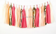 20PCS Mixed Peach Coral Ivory Gold Tissue Paper Tassels Wedding Bunting Banner Garland Christmas Baby Shower Party Hanging Favor