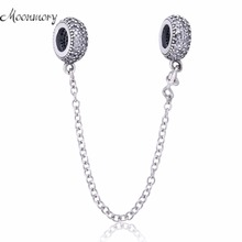 Moonmory New Arrival S925 Sterling Silver Pave Inspiration Safety Chain With Clear Zircon Fit Pandora Bracelet DIY Jewelry(China)
