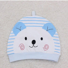 Hot Sales 2pcs Lovely kids baby hat cap for Newborn boys girls Striped soft hats carton printed thick baby cold caps pocket hat(China)