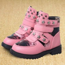 2017 kids boots girls shoes fashion rivet pu leather martin boots warm cotton girls boots children winter boots kids shoes