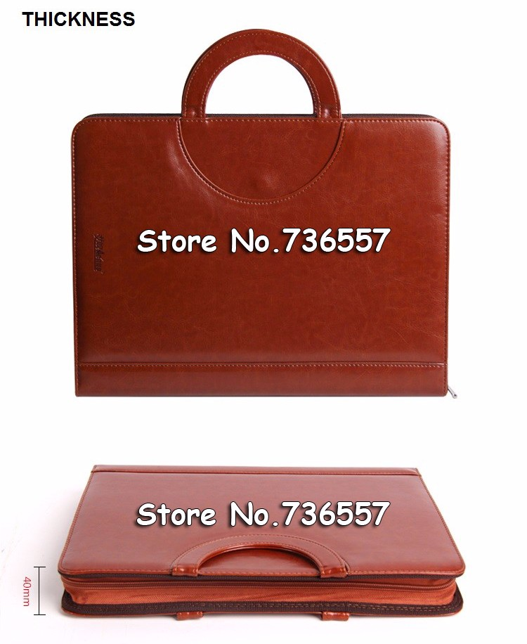 New A4 leather  file folder business zipper leather portfilio manager document bag holder brief case with handle with calculater<br>