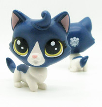 Original 1pc LPS quality cute toys Lovely Pet shop animal blue and white cat kitty action figure littlest doll