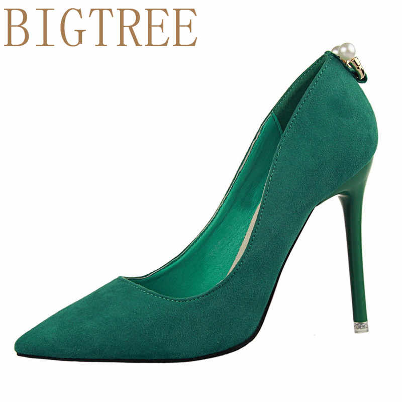 BIGTREE Women Pumps 2017 Sexy Pearl decoration High Heels 10.5 CM Pointed  Toe Party Shoes Woman 35ae949ba589