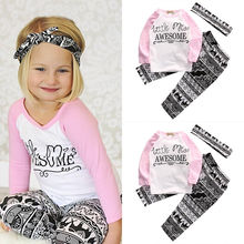 3 PCS Autumn Fashion Kids long sleeve letters Floral sets  Baby Girls Clothes Tops +Pants Leggings Headband 3PCS Outfits Set