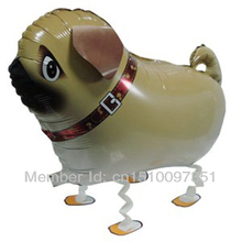 10pcs/Lot, Free Shipping, Pug, Lap Dog Pet Walking Animals Balloons  Helium Mylar Balloons, Baby's toy, Party Decoration. .