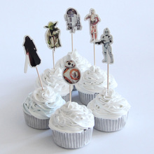 24pcs/lot Star Wars Theme Cartoon Party Supplies Cupcake Topper Kids Boy Birthday Party Decorations(China)