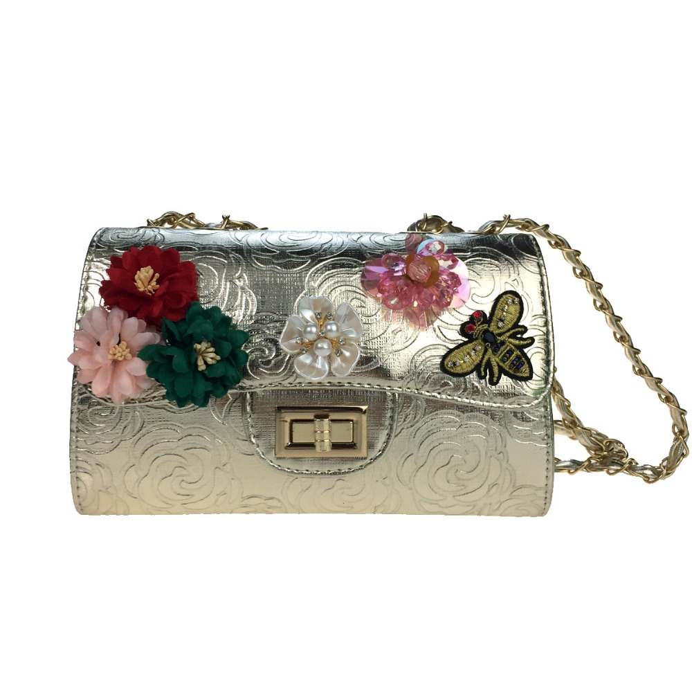 Women Shoulder Bag Poly urethane Casual  Office &amp; Career FlapRhinestone Appliques Pearl Detailing Bead Sequined Floral lady bags<br>